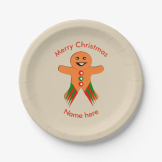 Christmas Party Gingerbread Man Paper Party Plate