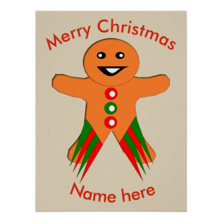 Christmas Party Gingerbread Man Poster