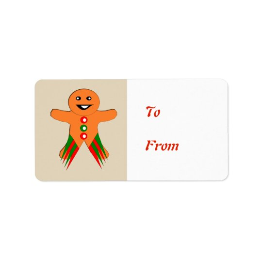 Christmas Party Gingerbread Man Present Tag Label Address Label