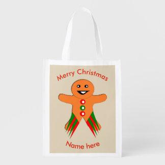Christmas Party Gingerbread Man Reusable Bag