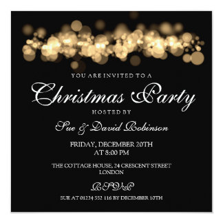 Christmas Party Gold Bokeh Lights 13 Cm X 13 Cm Square Invitation Card