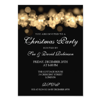 Christmas Party Gold Bokeh Lights 13 Cm X 18 Cm Invitation Card