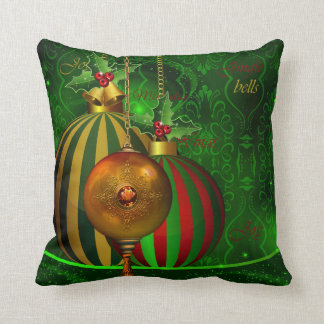 Christmas Party Gold Green Red Xmas Decorations Throw Pillow