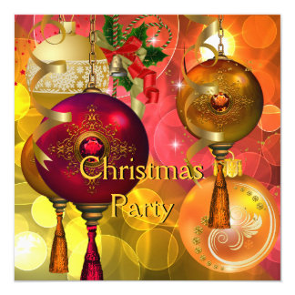 Christmas Party Gold Yellow Green Red Xmas Card
