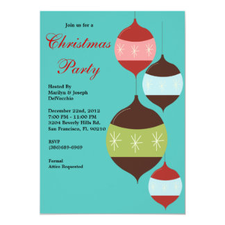 """Christmas Party Hanging Ornaments Holiday Invite 5"""" X 7"""" Invitation Card"""