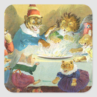 Christmas Party in Animal Land Square Sticker