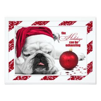 "Christmas Party Invitation Bulldog Santa Hat 5.5"" X 7.5"" Invitation Card"