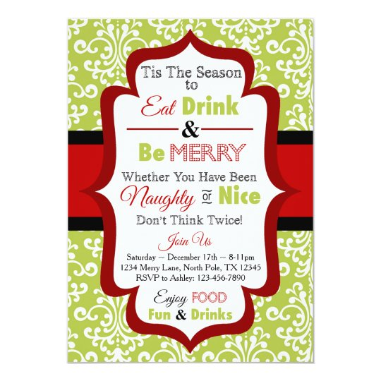 Christmas Party Invitation - Eat Drink & Be