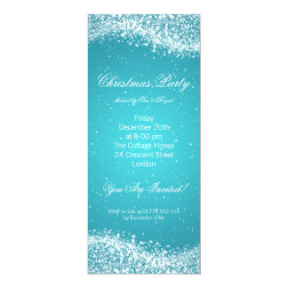 Christmas Party Invitation Elegant Sparkle Blue