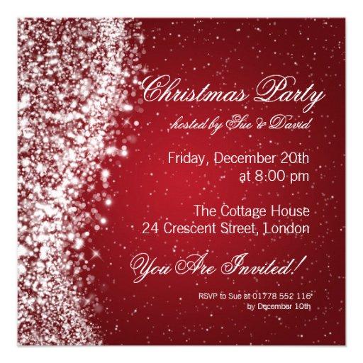 Christmas Party Invitation Elegant Sparkle Red Custom Announcement