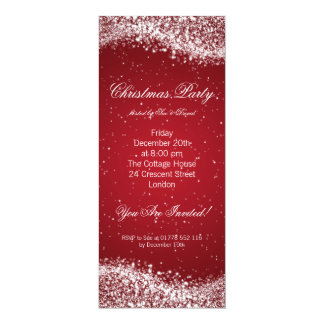 Christmas Party Invitation Elegant Sparkle Red Announcements