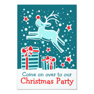 Christmas party invitation reindeer aqua teal