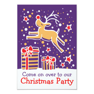Christmas party invitation reindeer purple