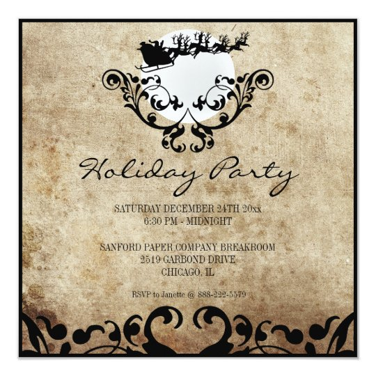Christmas Party Invitation-Santa and Reindeer Card