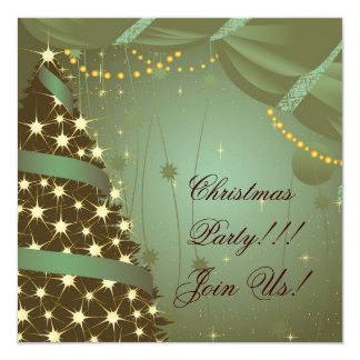 Christmas Party  Invitation Tree and Curtain