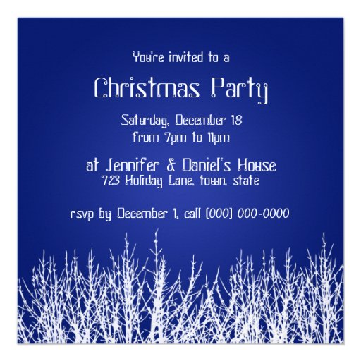 Christmas Party Invitations Blue White Invites