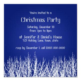"Christmas Party Invitations Blue White Invites 5.25"" Square Invitation Card"