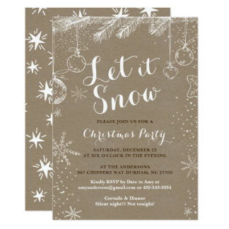 Christmas party invitations | Kraft paper cards