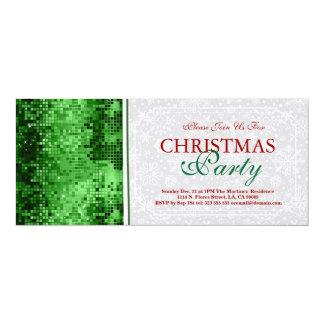 Christmas Party Invite Green Disco Glitter