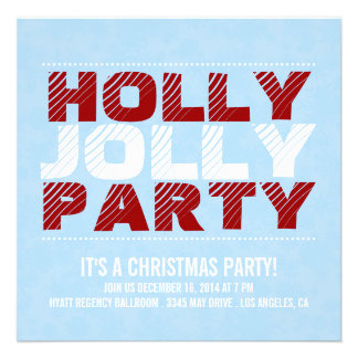 Christmas Party Invite Holly Jolly Party