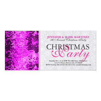 Christmas Party Invite Pink Disco Glitter
