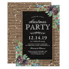 Christmas Party Invites | Rustic Pine Cones Berry
