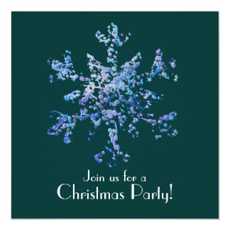 Christmas Party, Modern Snowflake Art 13 Cm X 13 Cm Square Invitation Card