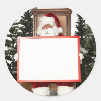 Christmas Party Name Tag Santa Claus Round Sticker