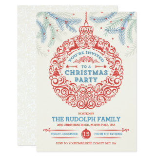 Christmas Party Ornament Invitation