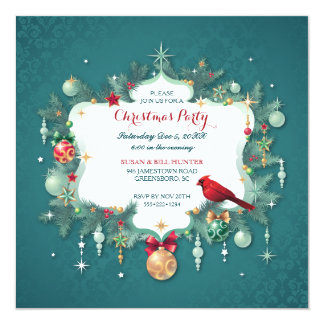 Christmas Party Ornaments Cardinal Teal Damask Card