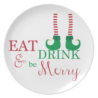 Christmas Party Plates- Eat, Drink, & Be Merry Plates