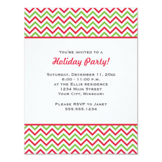 Christmas Party Red and Green Chevron 11 Cm X 14 Cm Invitation Card