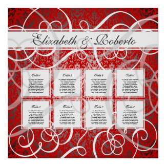 Christmas Party Red Swirls 8 Table Seating Chart Poster