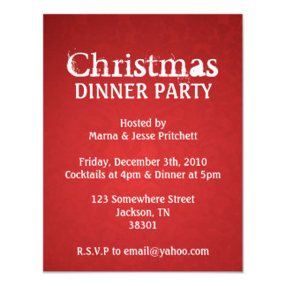 Christmas Party Red Vintage Invites
