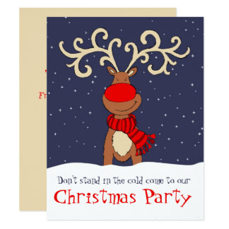 christmas party reindeer come in invitation