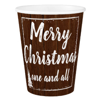 Christmas Party | Rustic Wood Snow Merry Christmas Paper Cup
