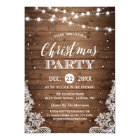 Christmas Party | Rustic Wood Twinkle Lights Lace Card