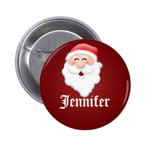 Christmas Party Santa Claus Name Tags Pinback Buttons