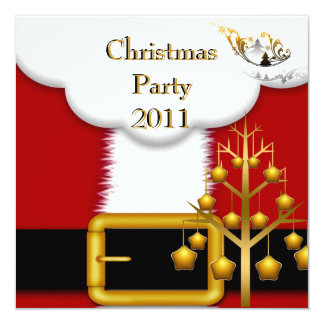 Christmas Party Santa Suit Red  Xmas 13 Cm X 13 Cm Square Invitation Card