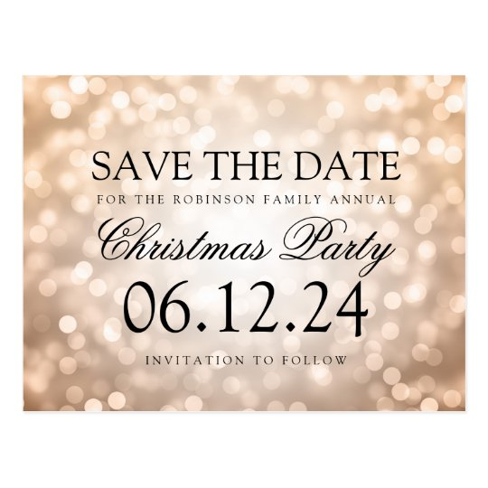 Christmas Party Save The Date Copper Glitter Light
