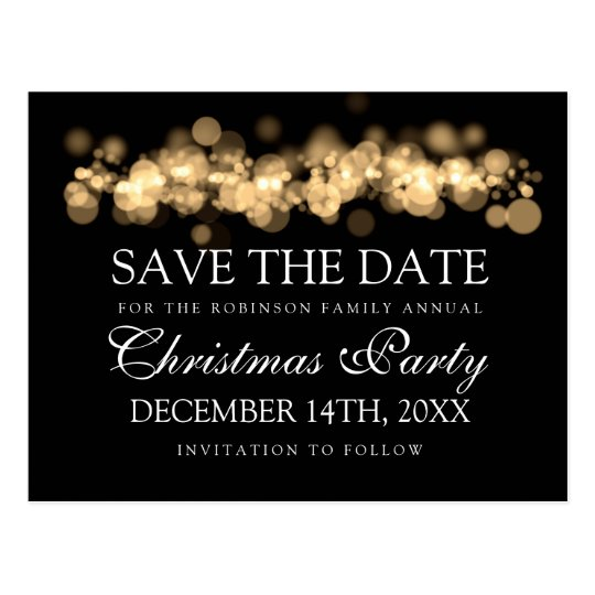 Christmas Party Save The Date Gold Bokeh Lights