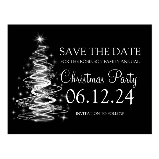Christmas Party Save The Date Sparkling Tree Black