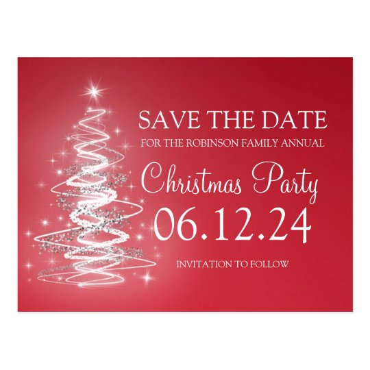 Christmas Party Save The Date Sparkling Tree Red
