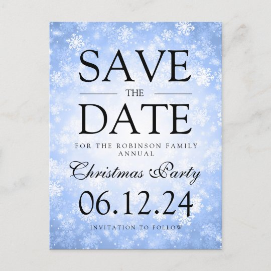 Christmas Save The Date Graphics.Christmas Party Save The Date Winter Blue Announcement Postcard