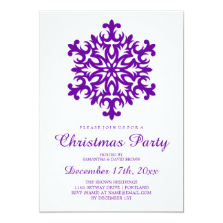 Christmas Party Snowflake Purple Card