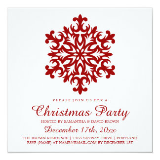 Christmas Party Snowflake Red Card