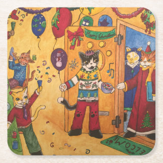 Christmas Party Square Paper Coaster