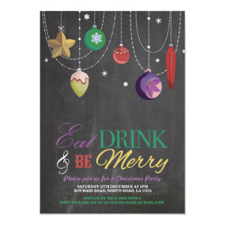 Christmas Party Tree Baubles Merry Xmas Invite