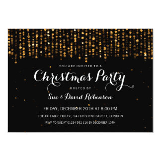 Christmas Party Winter Star Confetti Gold Card