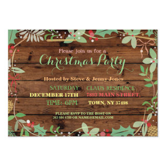 Christmas Party Wood Mistletoe Xmas Festive Invite